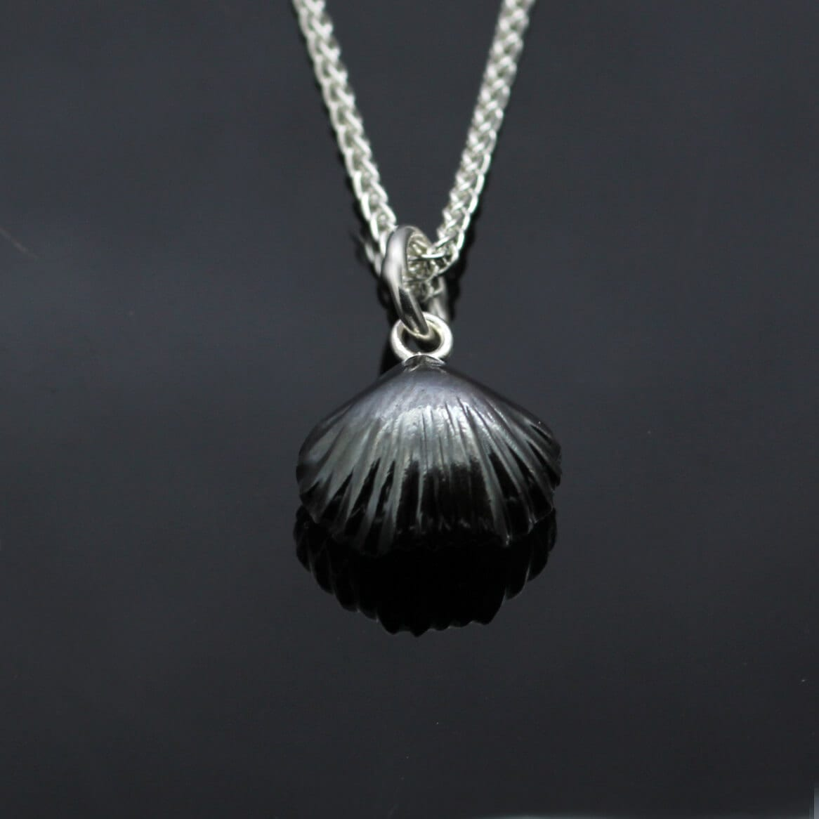 Handcrafted oxidised Sterling Silver Fossil Shell pendant