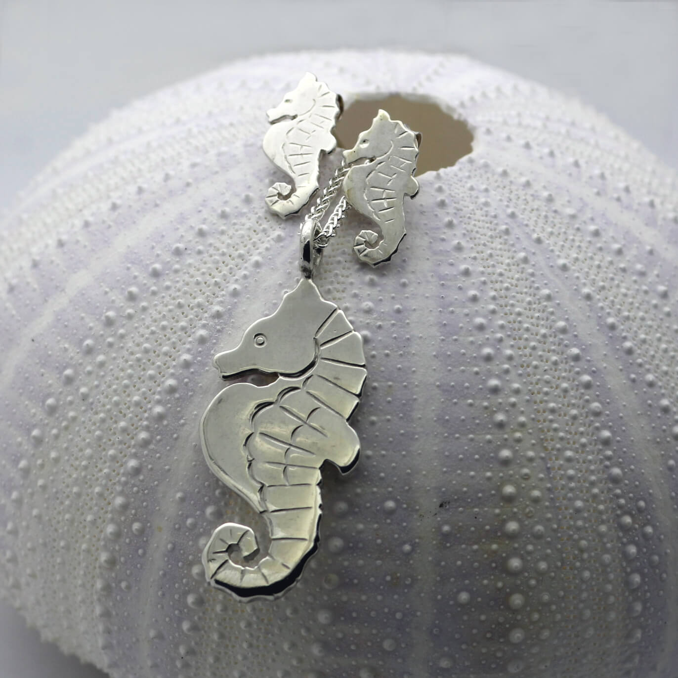 Handmade unique Sterling Silver seahorse charm necklace and matching stud earrings