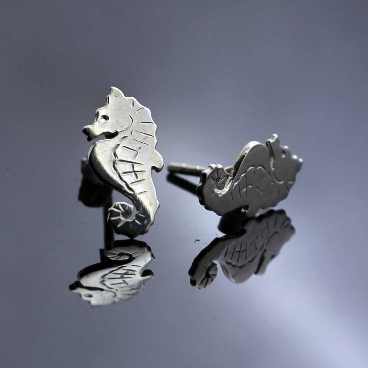Unique seahorse design solid silver handmade earrings
