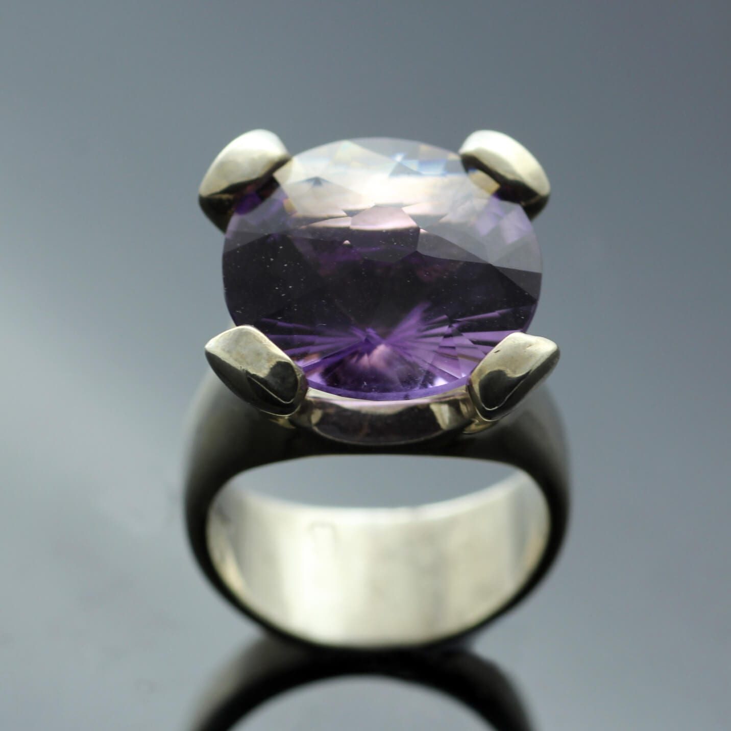 Fancy custom cut Amethyst gemstone Silver cocktail ring