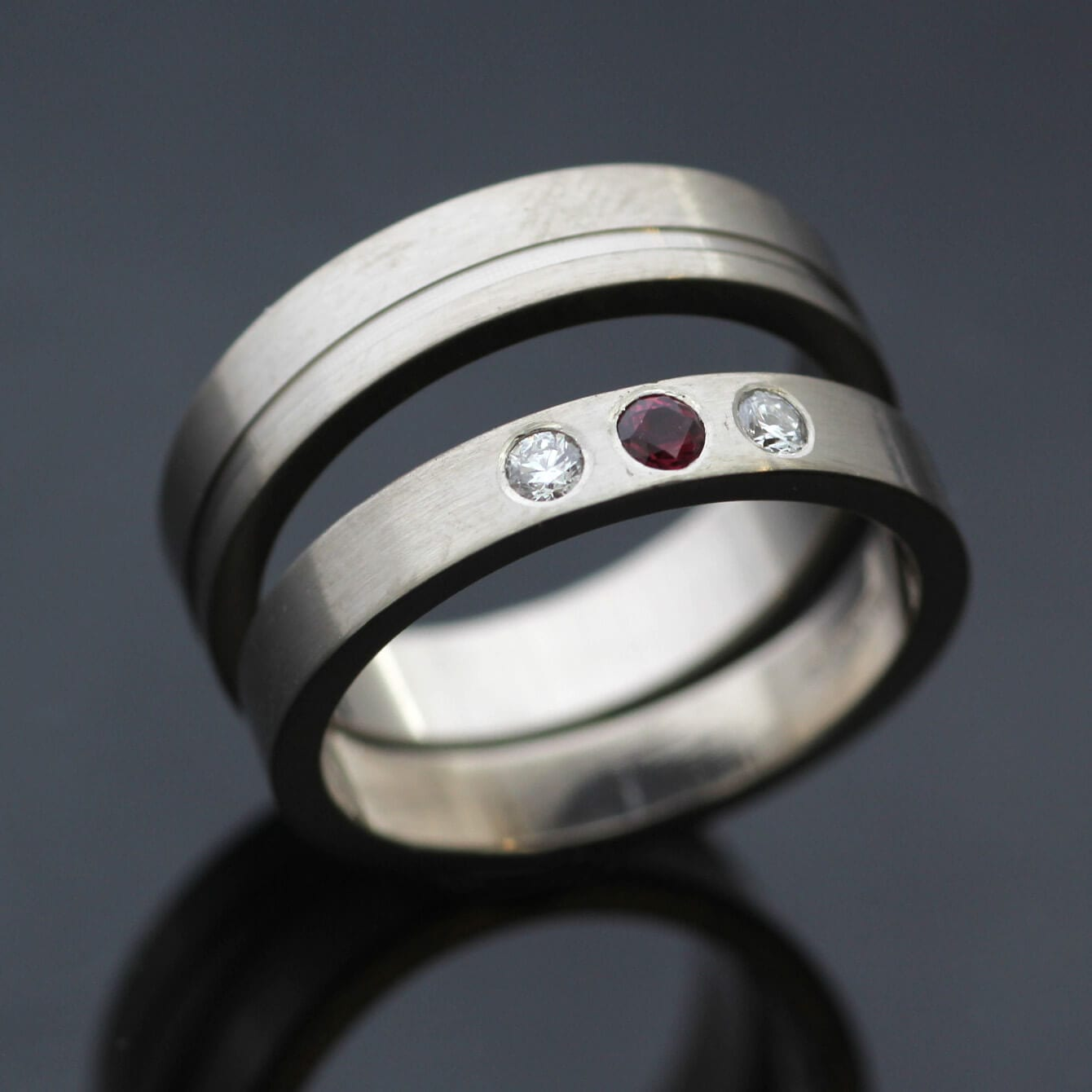Bespoke White Gold wedding bands with Ruby Diamond gemstones
