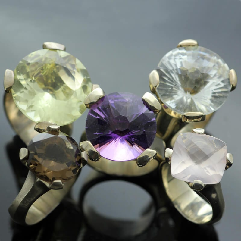 Modern statement gemstone cocktail rings