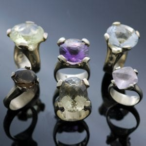 Modern, bold statement gemstone Cocktail Collection rings by Julian Stephens