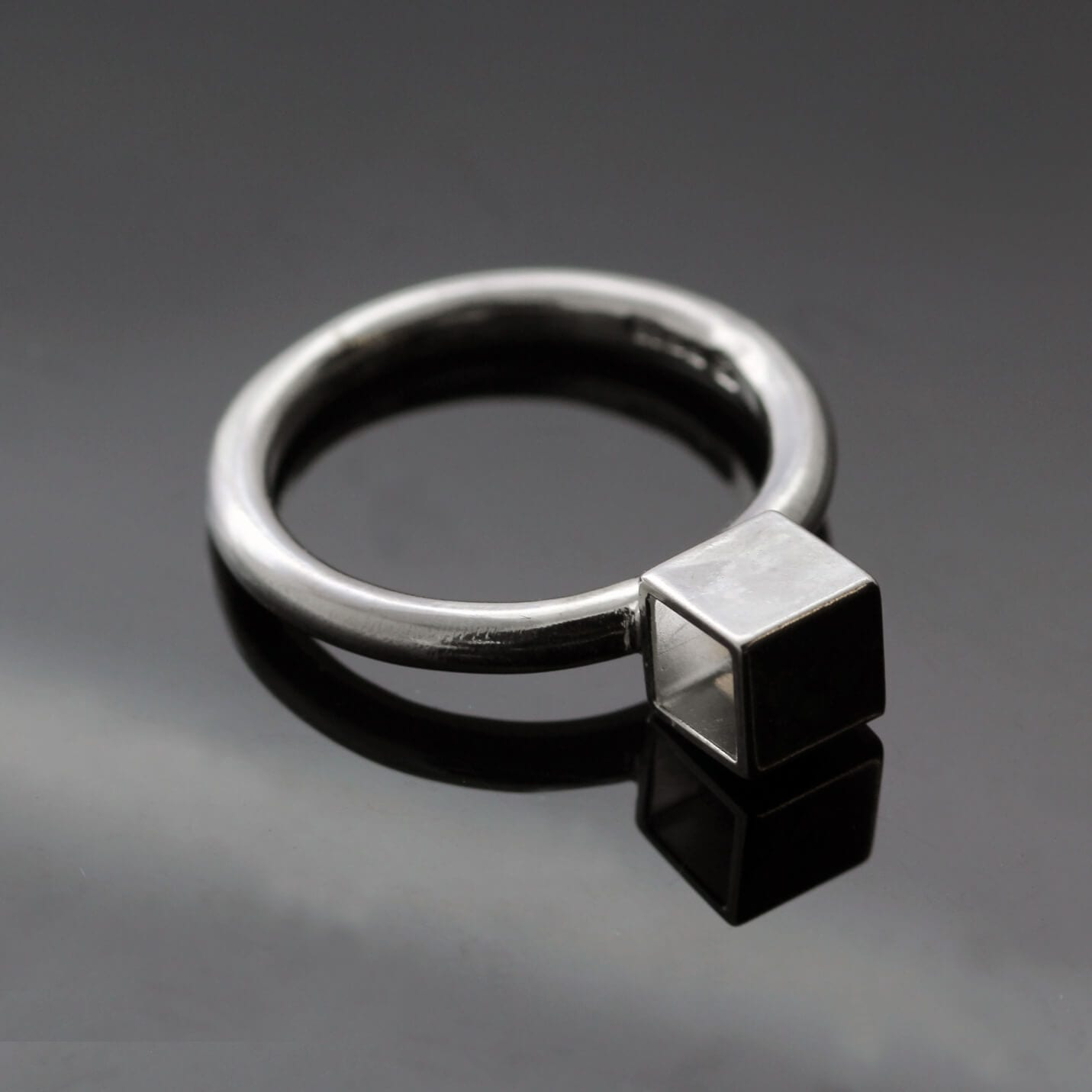 Contemporary Silver stacking Cube ring by Julian Stephens