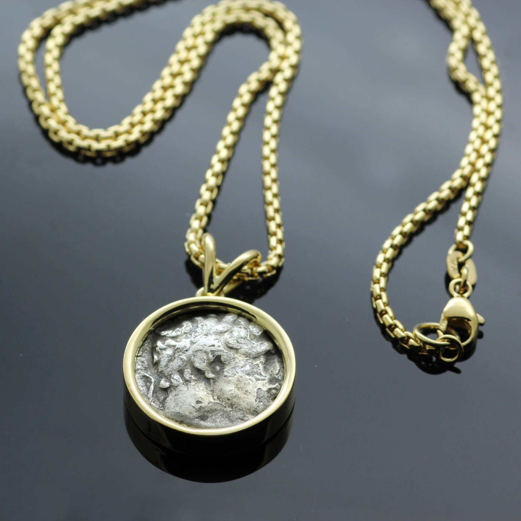 Bespoke Yellow Gold Antique Bekah coin necklace