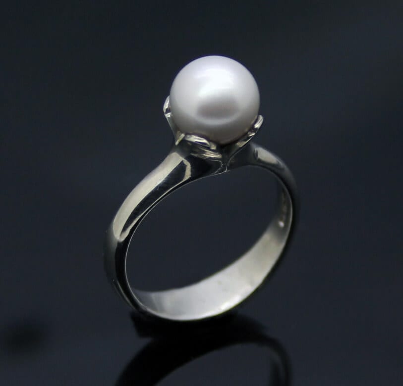 Sterling Silver and White Pearl Flower ring by Julian Stephens