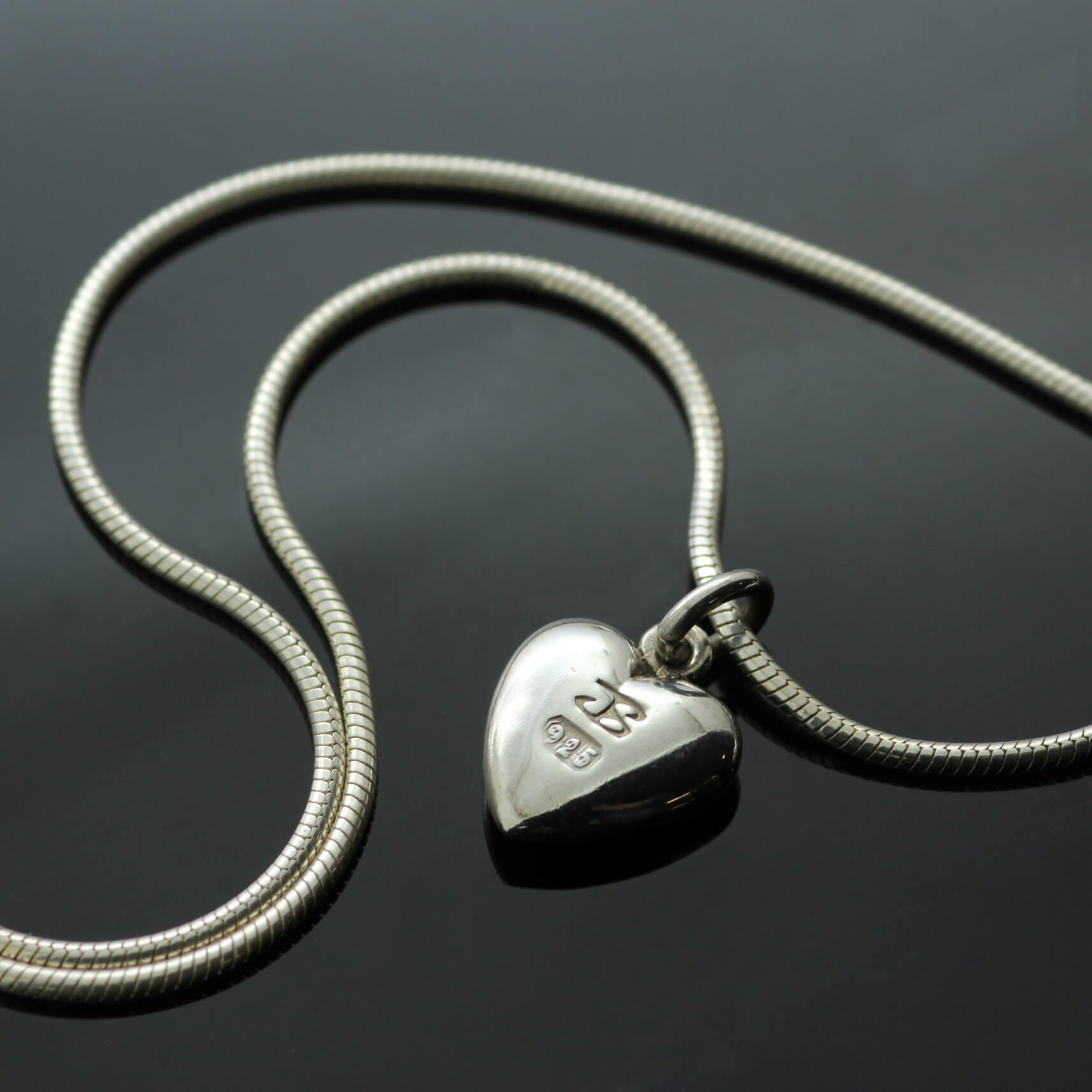 Hallmarked heart charm pendant solid silver snake chain