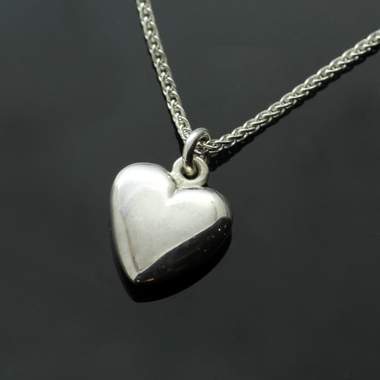 Contemporary Heart charm handmade solid Sterling Silver hallmarked