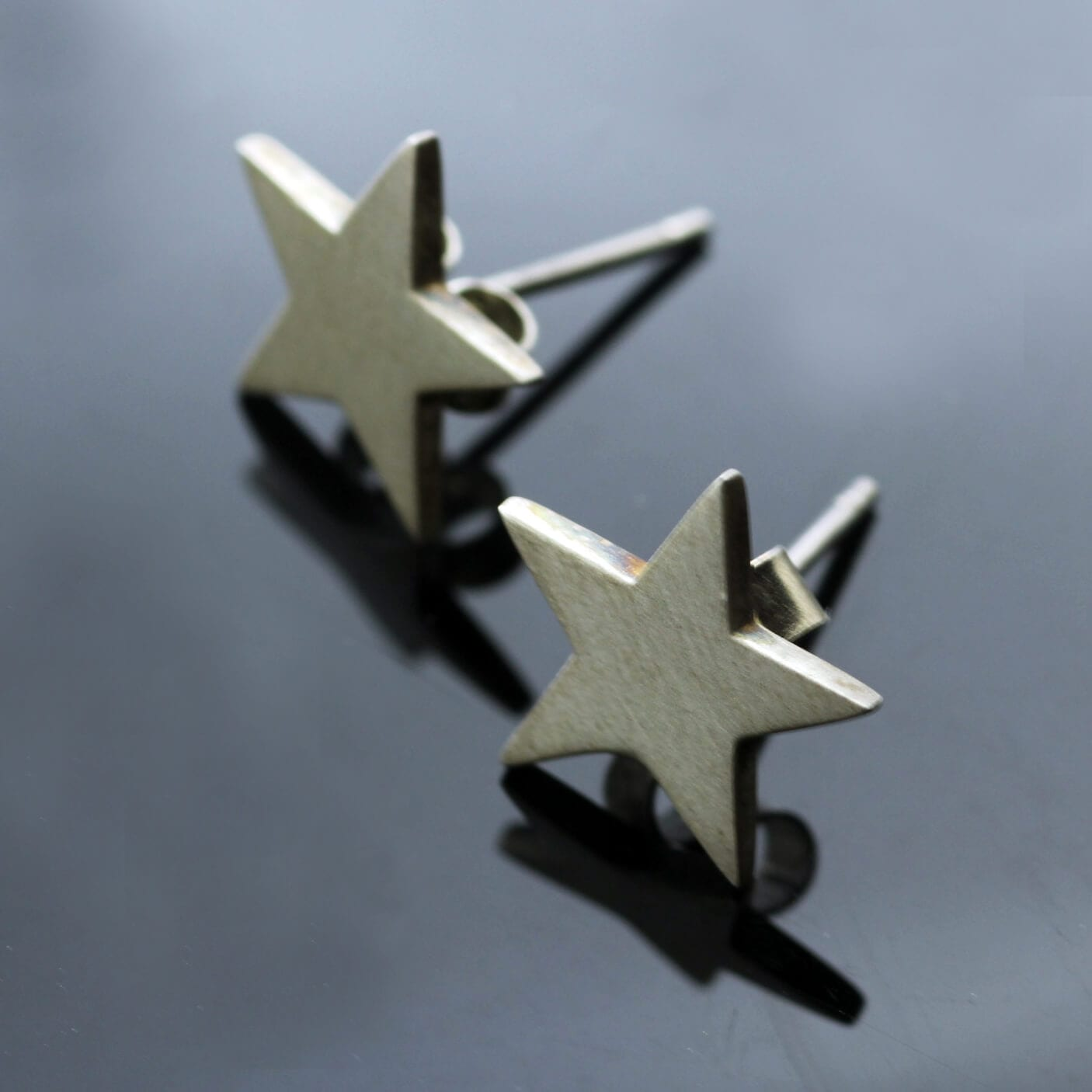 Handmade solid Sterling Silver Star stud earrings