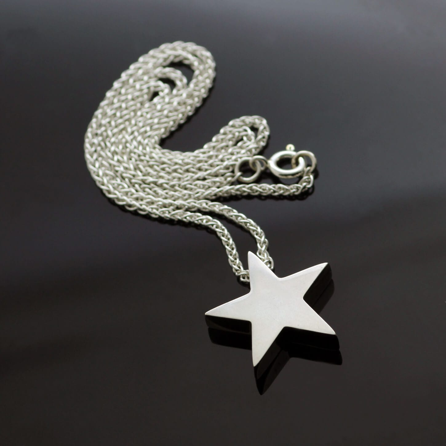 Sterling Silver Hallmarked Star pendant on solid Silver modern chain