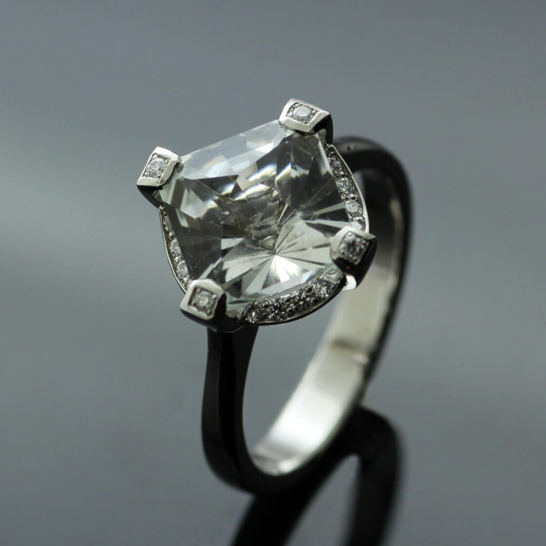 Solid Platinum Gatsby engagement ring set with White Topaz and Diamonds