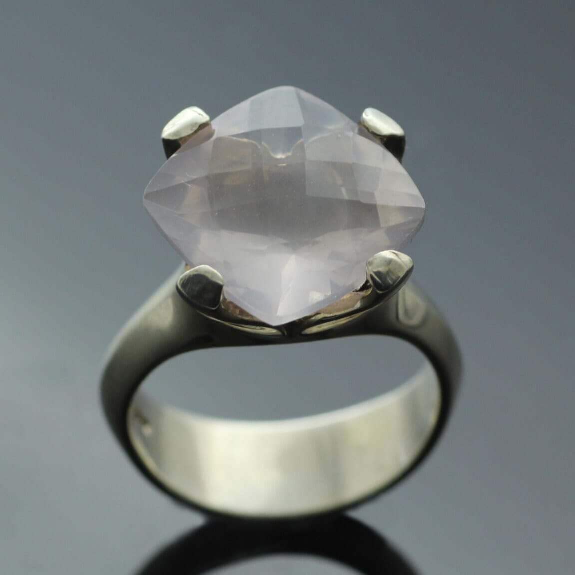 Rose Quartz Sterling Silver modern handmade statement ring
