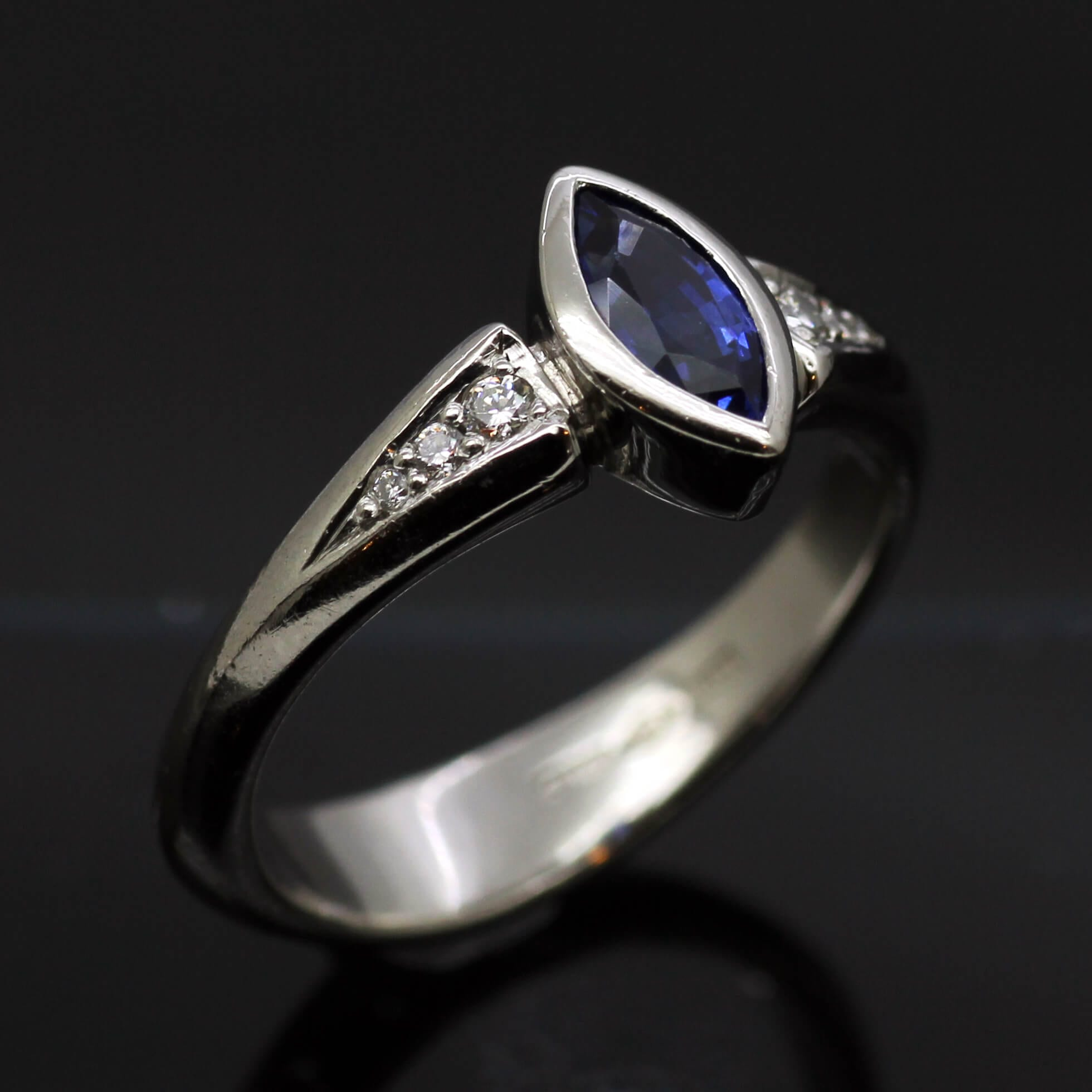 Bespoke Marquis cut Sapphire and Diamond handcrafted engagement ring