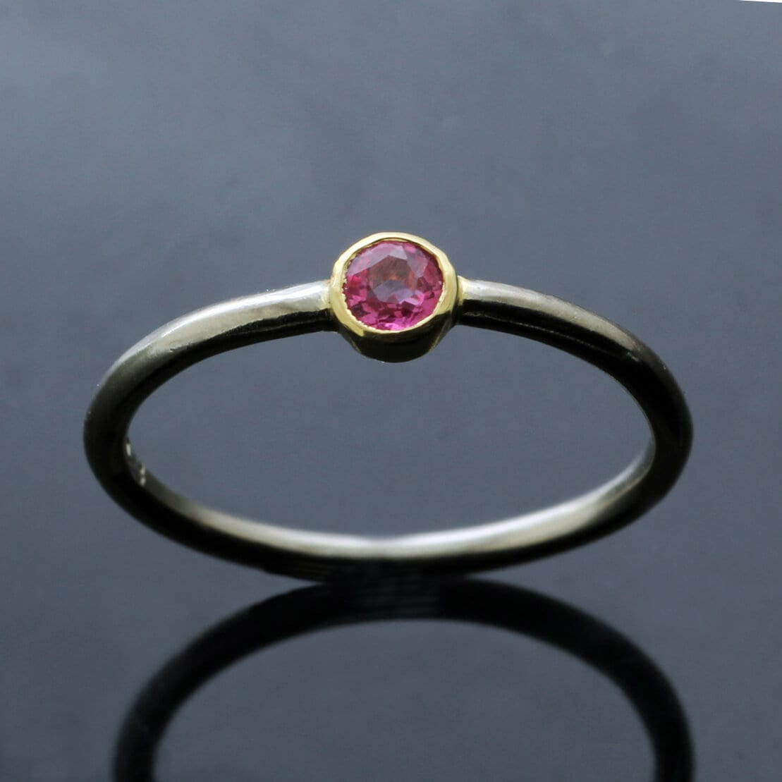 Solid White Gold stacking ring with Round Brilliant Pink Sapphire gemstone