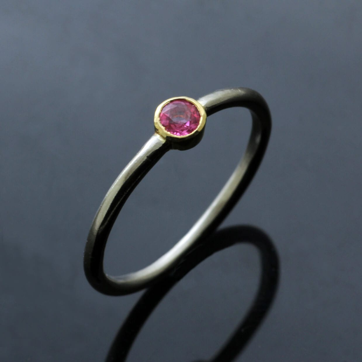 Yellow White Gold stacking ring Round Brilliant Pink Sapphire gemstone