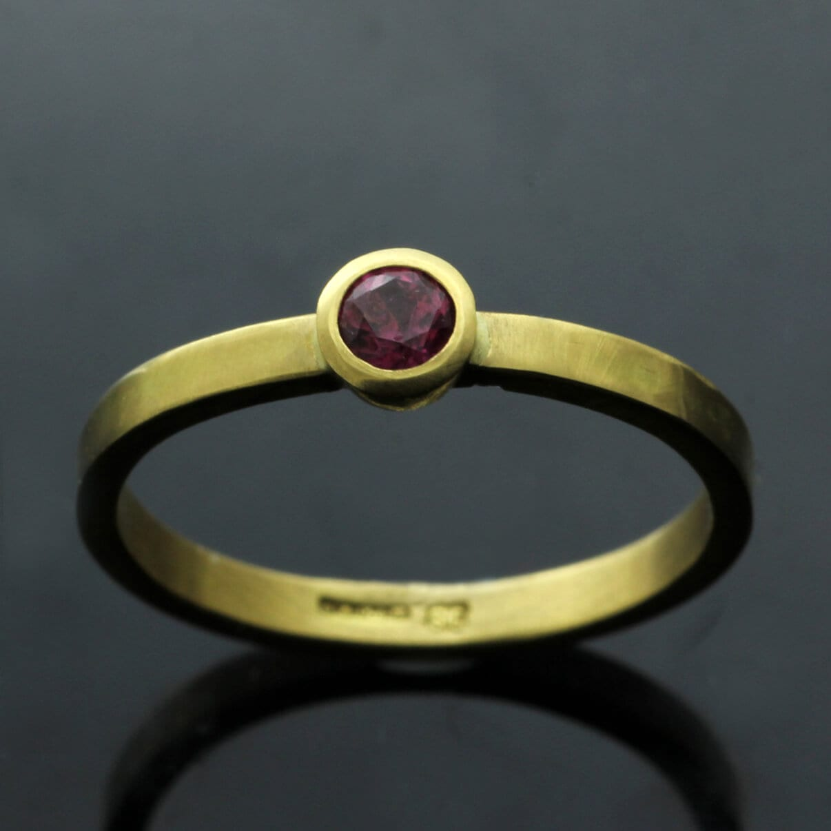 Round Brilliant Ruby 18ct Yellow Gold handmade stacking ring