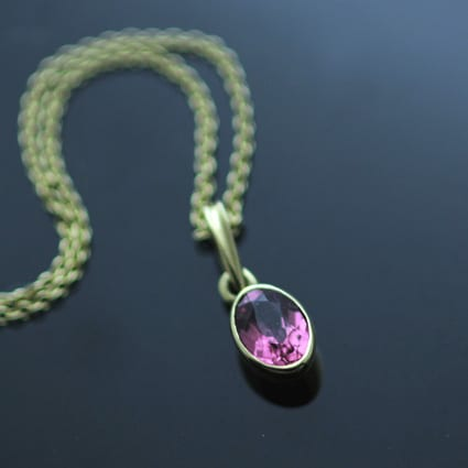 18ct Yellow Gold Pink Tourmaline handmade birthstone necklace