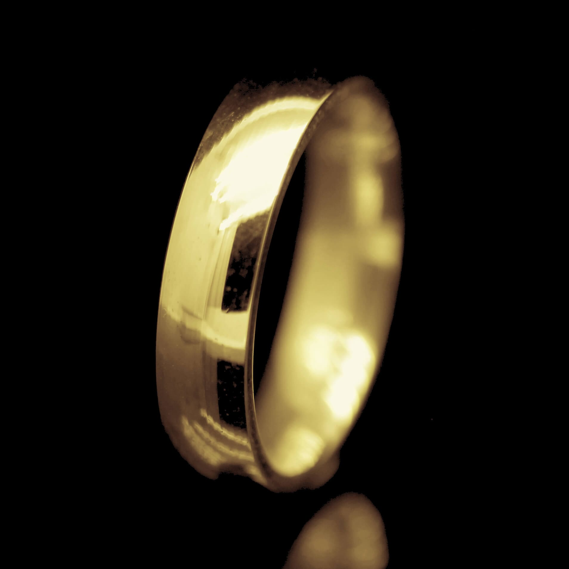 modern handcrafted mens court wedding ring 18ct yellow gold