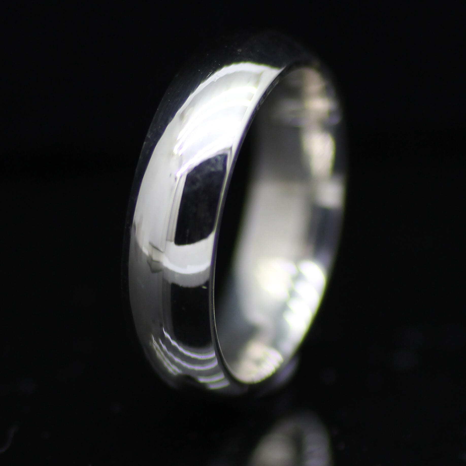 Stylish mens court wedding ring handmade Palladium band