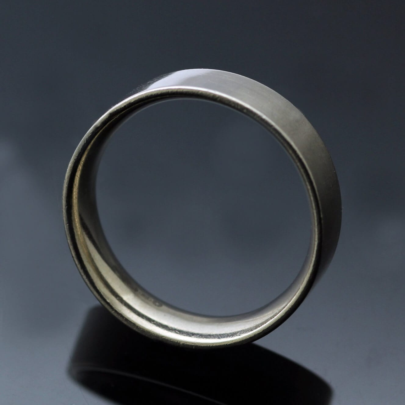 Easy fit handcrafted wedding band mens modern ring