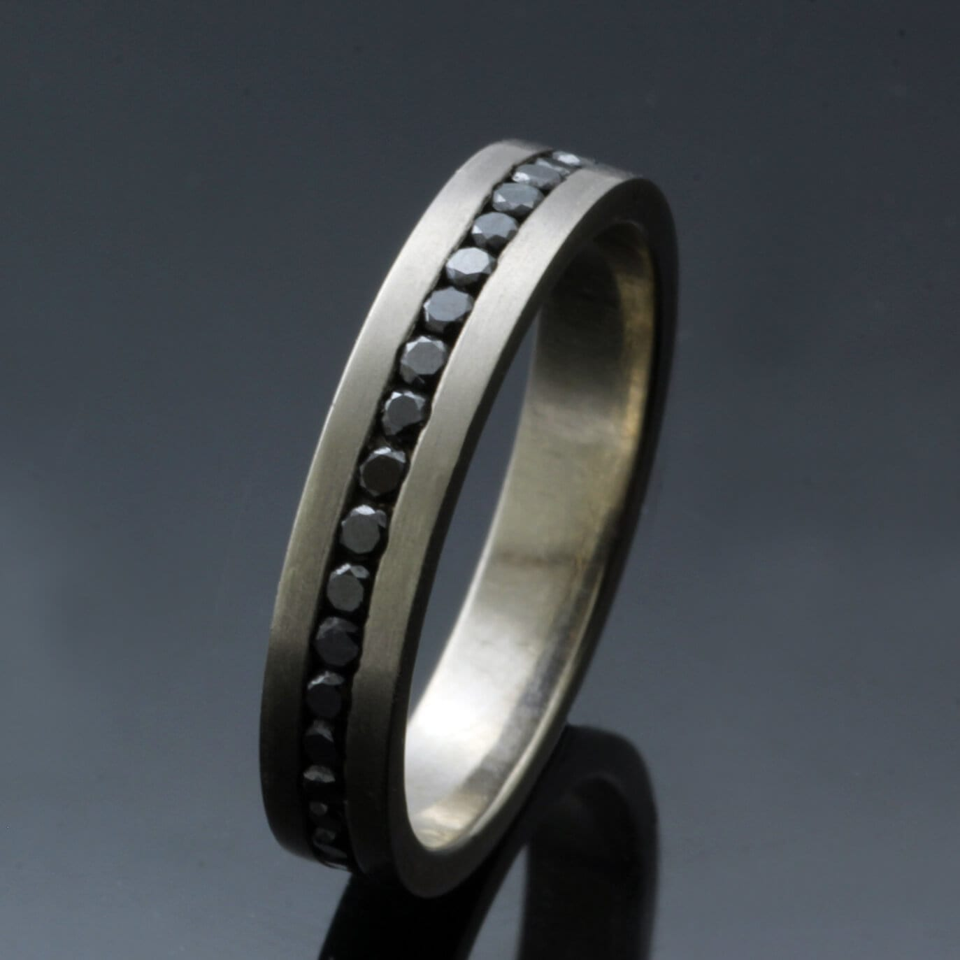 Full Eternity ring 18ct White Gold 1.5mm Black Diamonds handmade