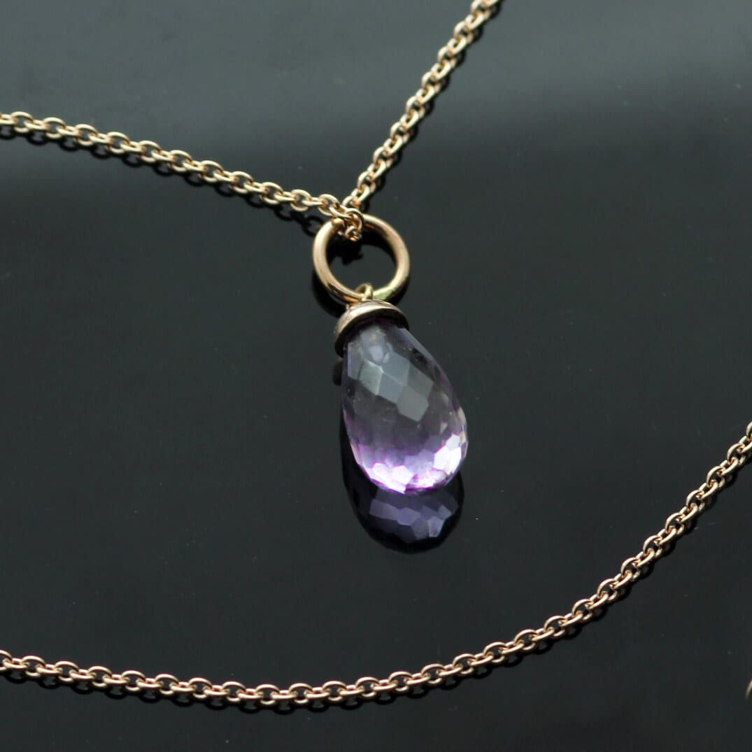 Amethyst Briolette in Rose Gold birthstone necklace