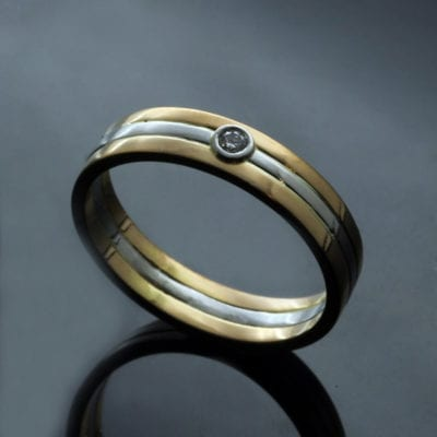 Bespoke 22ct Yellow Gold and Platinum wedding band with Diamond
