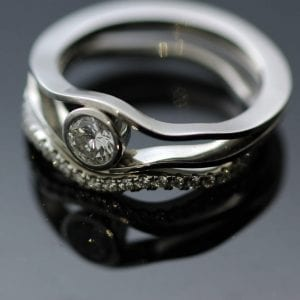 Platinum and Diamond stacking rings, handcrafted by Julian Stephens