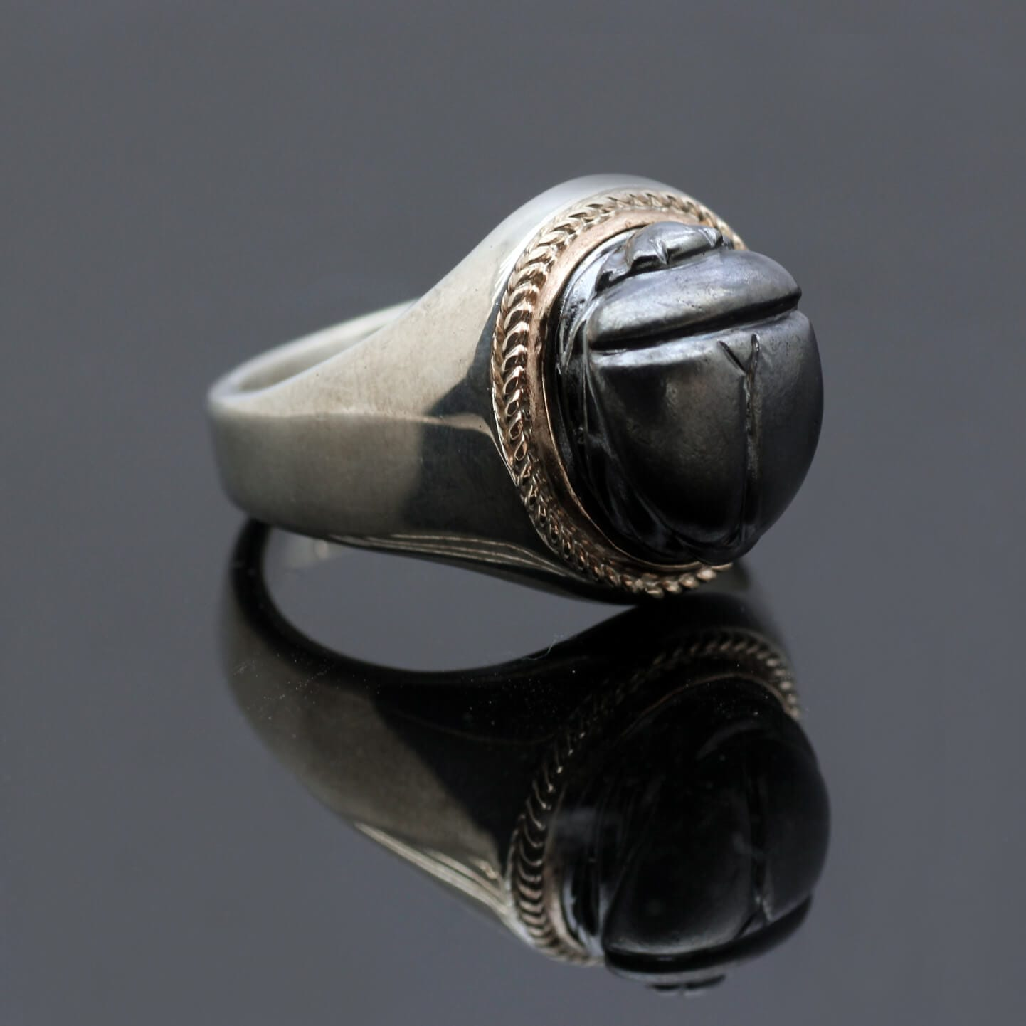 Sterling Silver mens signet ring with oxidised Scarab beetle design