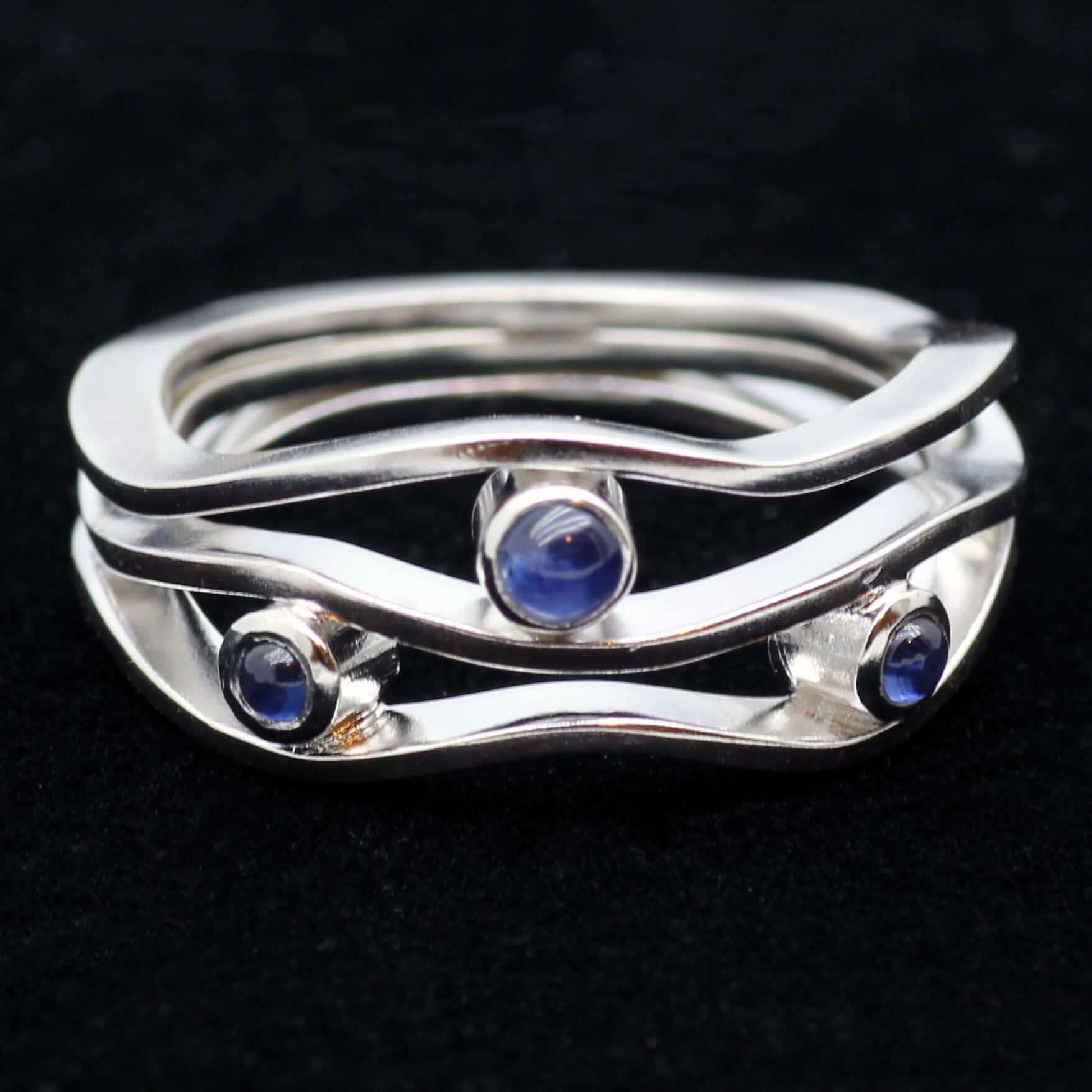 Bespoke, unique White Gold engagement ring with Sapphire gemstones