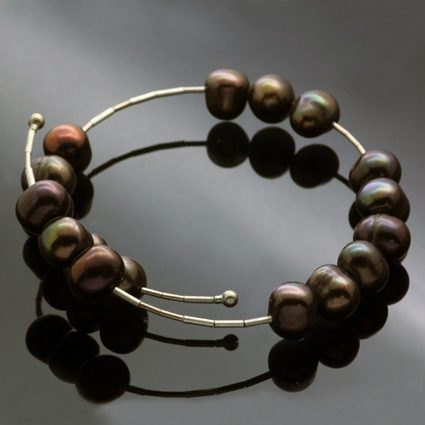 Chocolate Pearl contemporary bracelet handmade