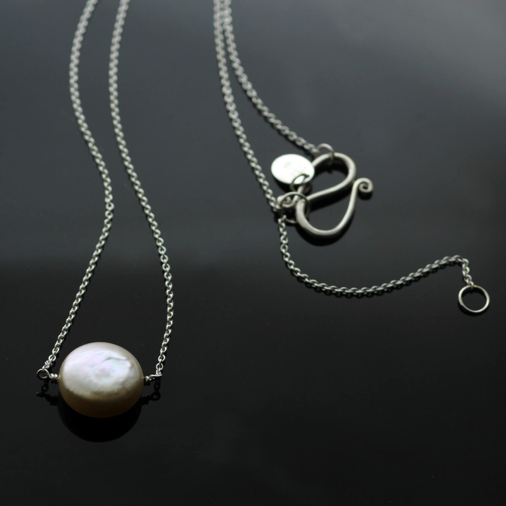 Handcrafted modern button Cream Pearl Silver pendant