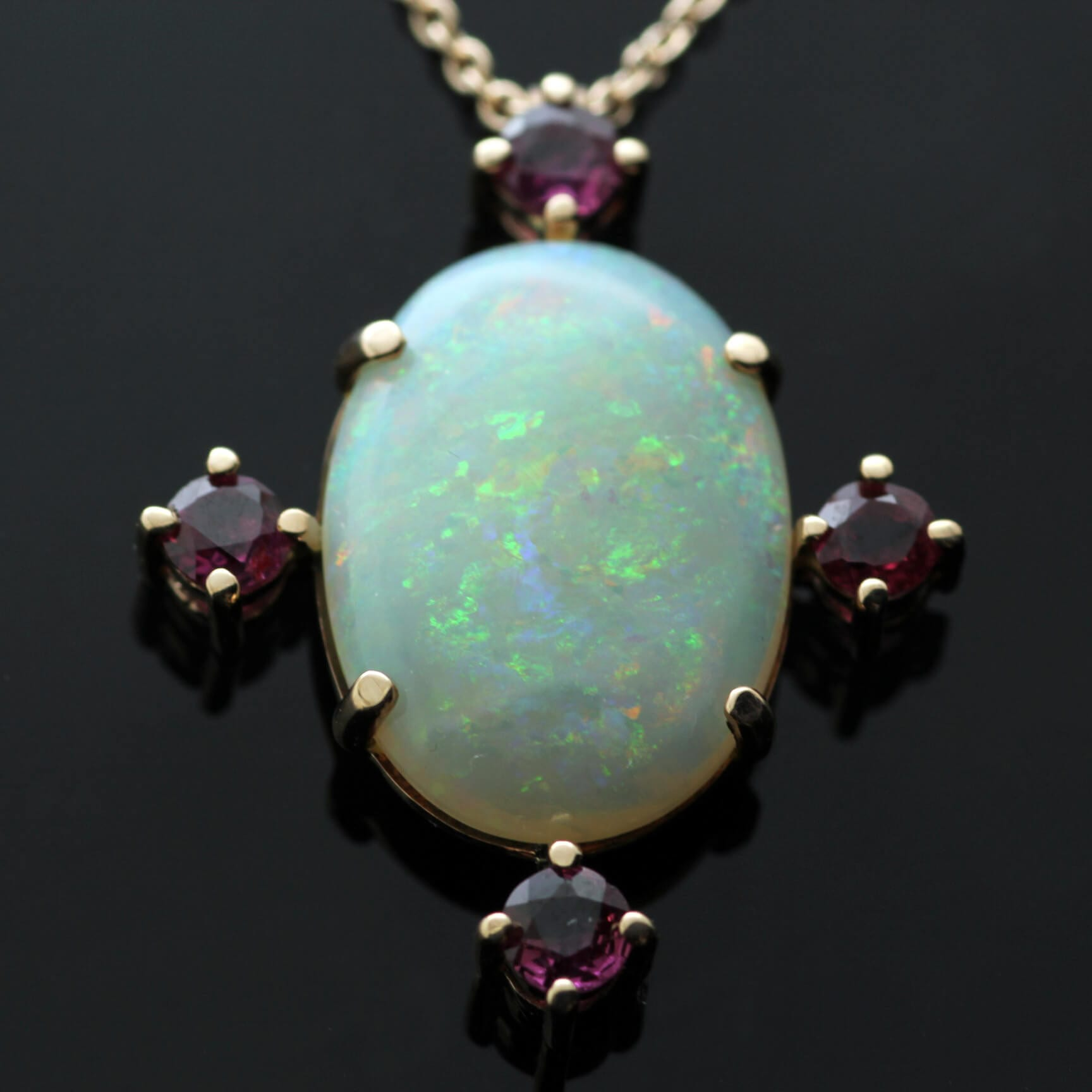 Unique Australian Opal Round Brilliant Ruby Rose Gold handcrafted pendant