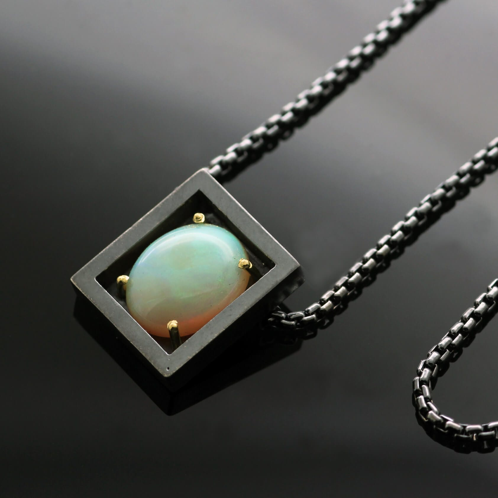 Opal Cabochon handmade Sterling Silver Yellow Gold modern statement necklace