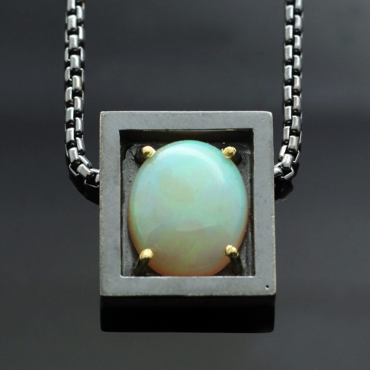 Cabochon cut Australian Opal handmade Silver 18ct yellow gold modern necklace