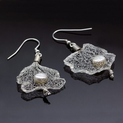 unique modern pearl mesh dangle earrings handmade