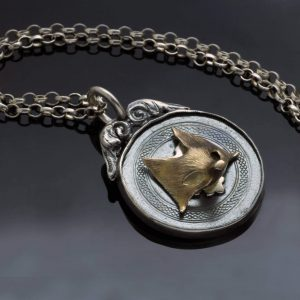 Handmade solid Sterling Silver Antique fob and Rose Gold fox pendant