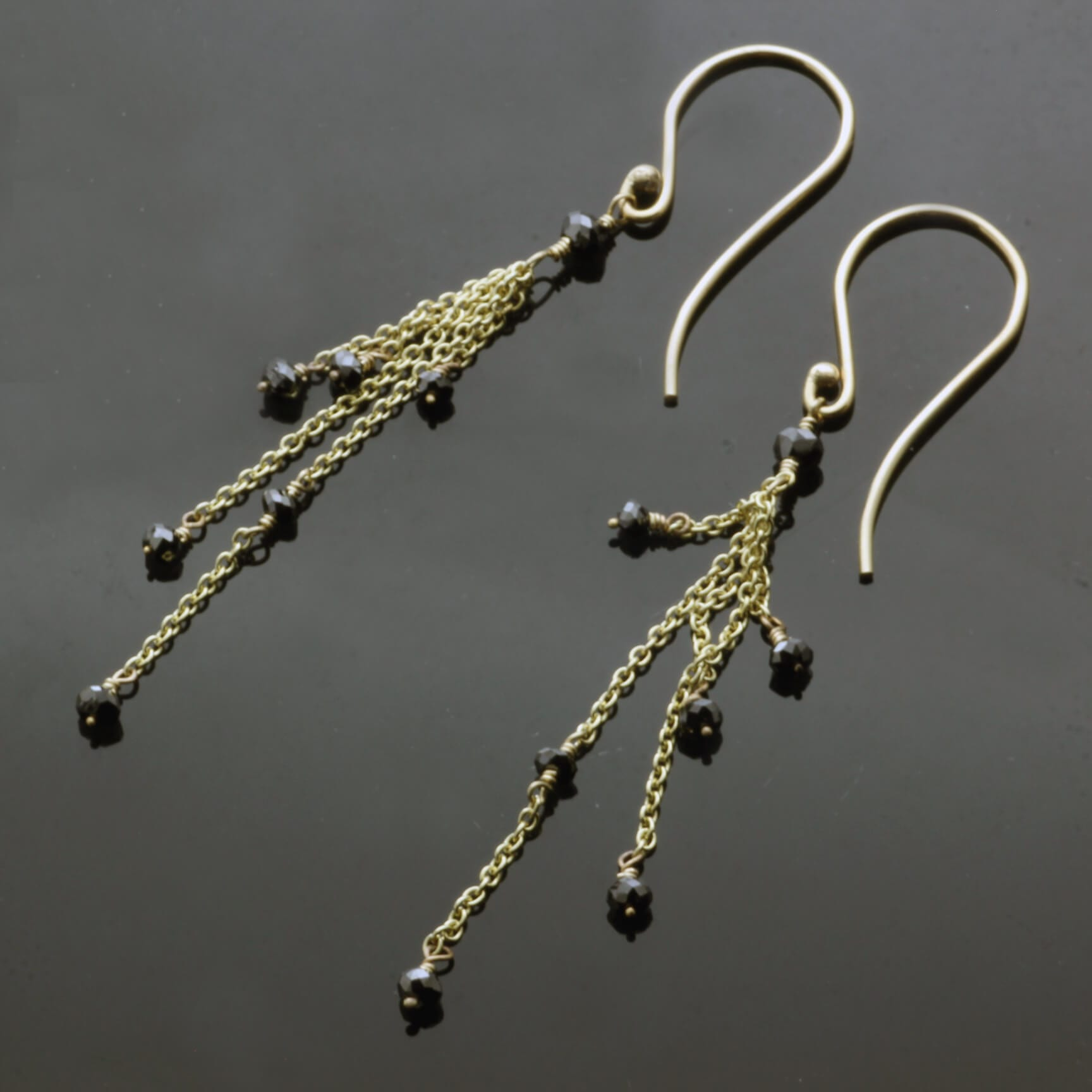 Black Diamond Yellow Gold contemporary droplet earrings