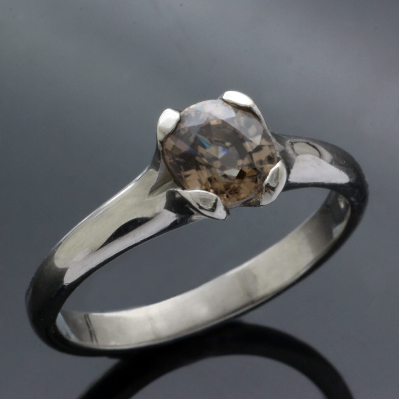 Natural Zircon and Palladium engagement ring by Julian Stephens