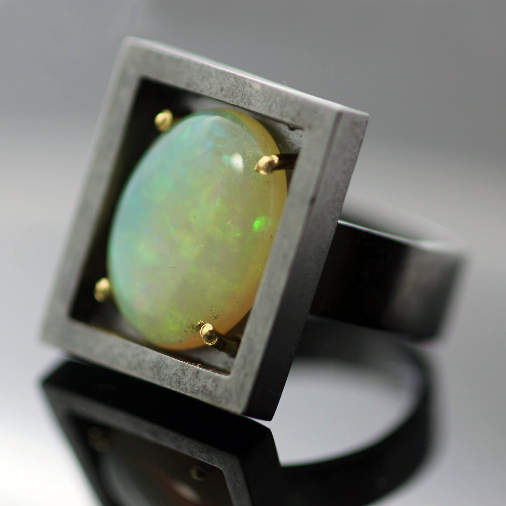 Australian Opal Cabochon gem Sterling Silver Yellow Gold modern statement ring