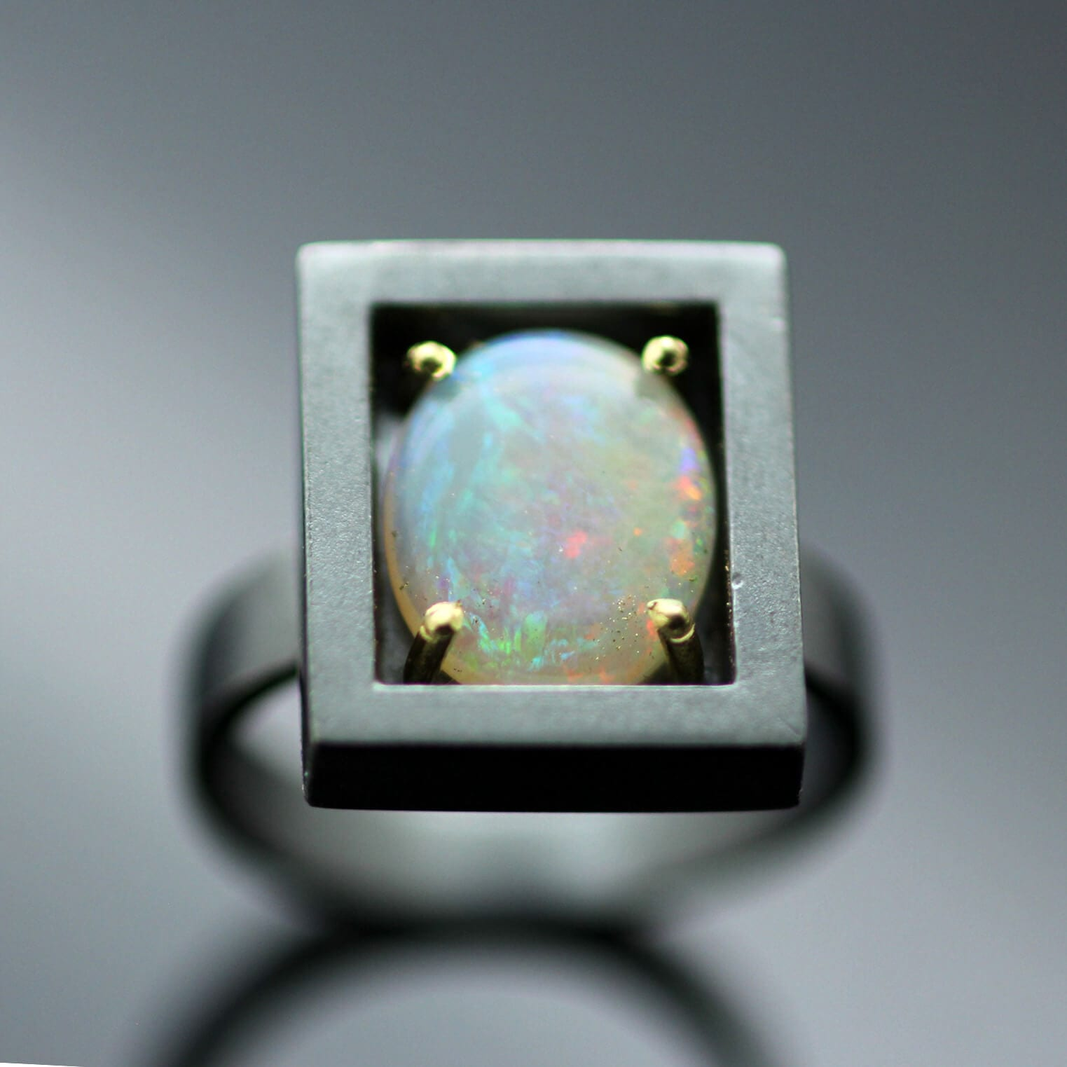 Australian Opal Cabochon set in Sterling Silver 18ct Yellow Gold statement ring