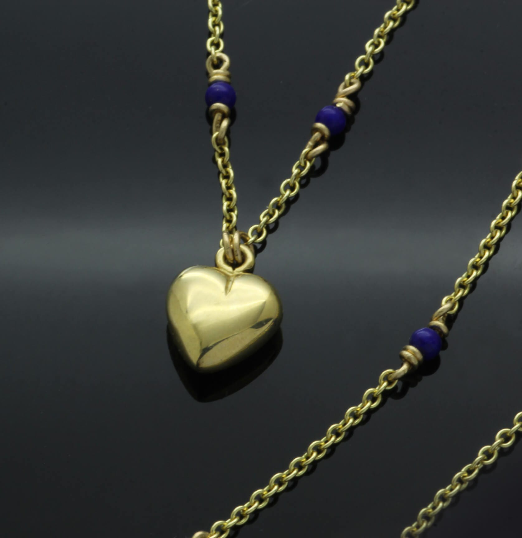 Contemporary heart charm solid 18ct Yellow Gold Lapis bead necklace