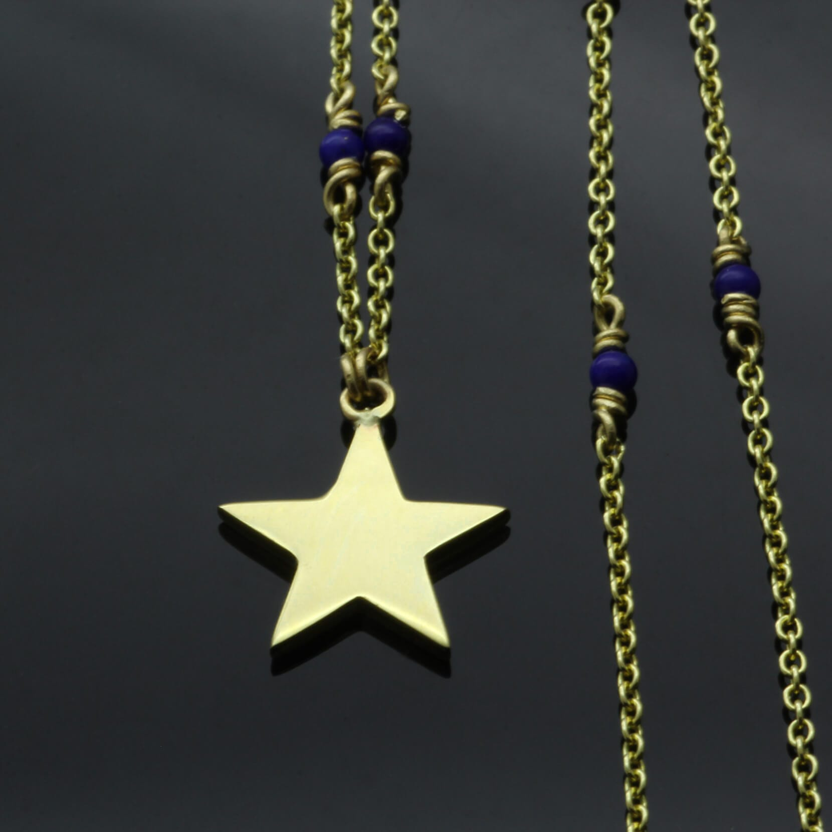 Lapis Lazuli bead 18ct yellow gold necklace with handmade star charm