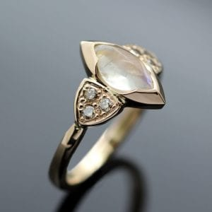 Bespoke, custom made engagement ring with Moonstone and Diamonds set in Rose Gold