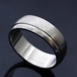 Bespoke mens Palladium Court wedding band with laythed detail