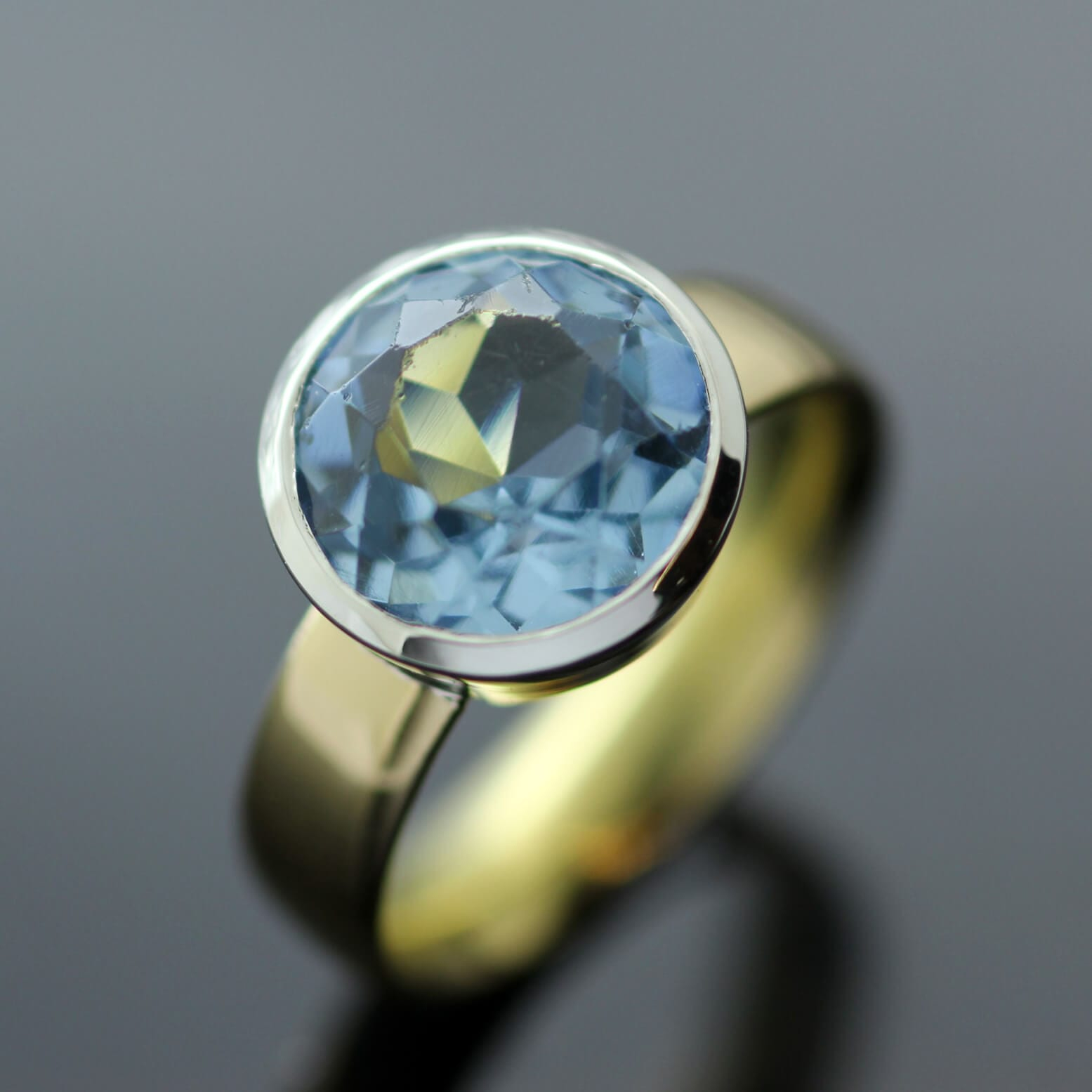 Handmade in Brighton Blue Topaz Yellow Gold ring