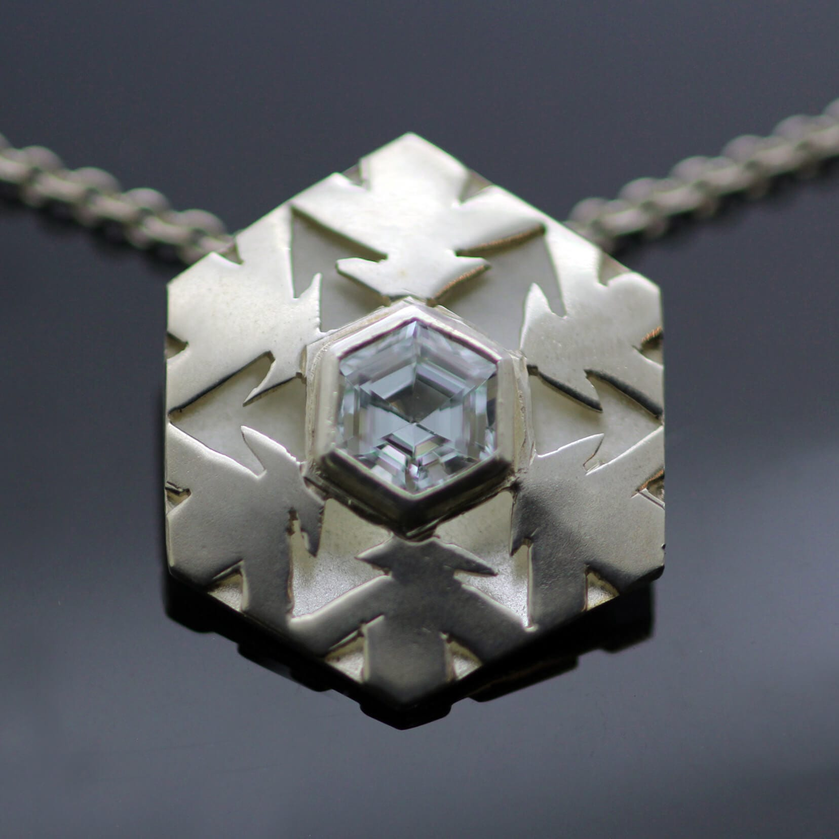 Unique Snowflake Sterling Silver Aquamarine gemstone contemporary necklace