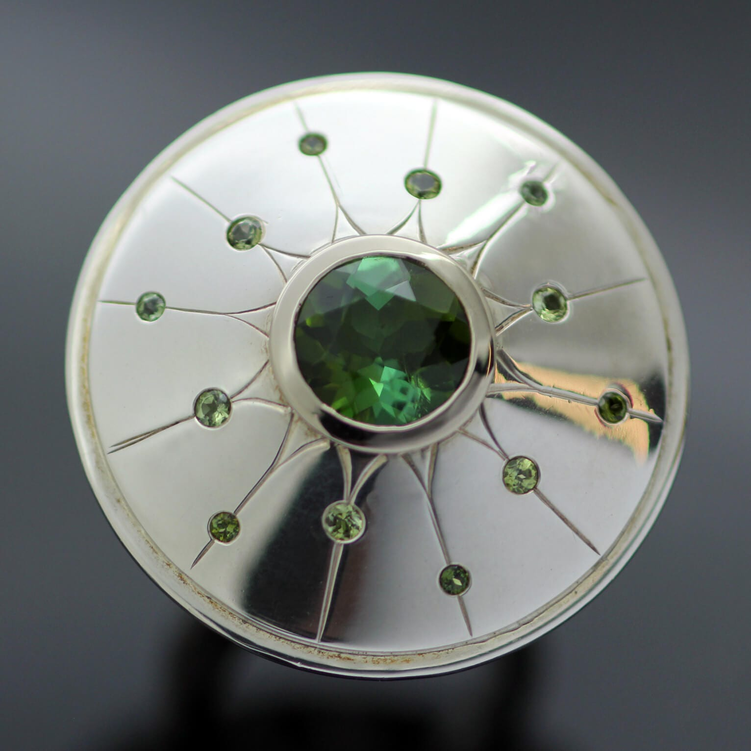 Cocktail ring handmade from Silver and White Gold with Green Tourmaline and Sapphire gemstones