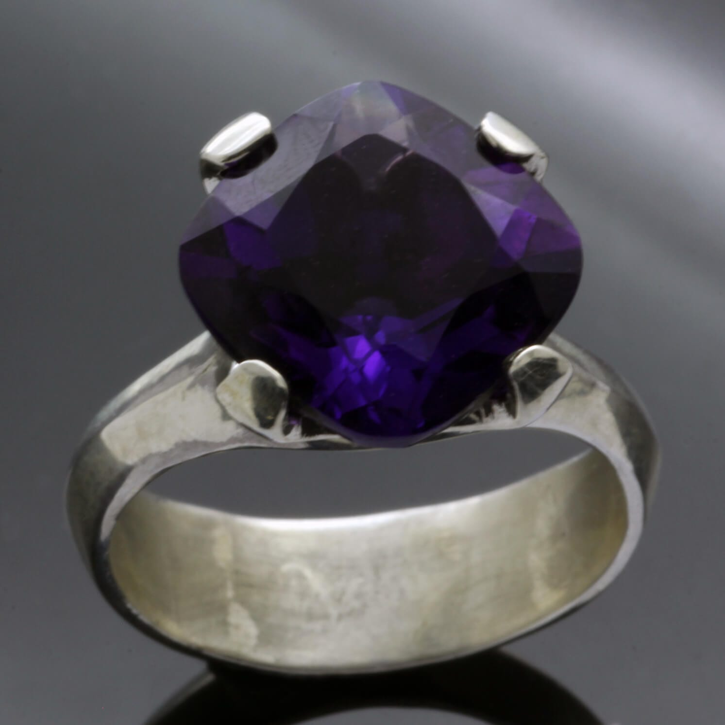 Contemporary Statement gemstone ring with Cushion cut Amethyst