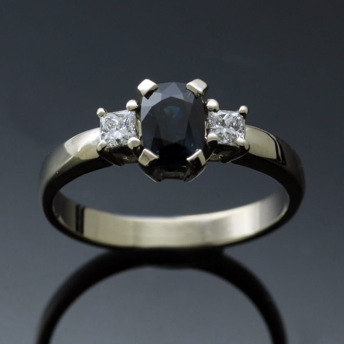Bespoke handmade modern Sapphire Diamond White Gold Trilogy ring